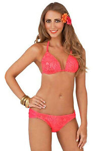 Boutique-Womens-Glamorous-Sexy-Coral-Halter-Neck-Bikini-Swimming-Costume-Set