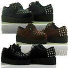 Womens Ladies Lace Up Stud Wedge Platform Suede Goth Punk Pumps Creepers Shoes