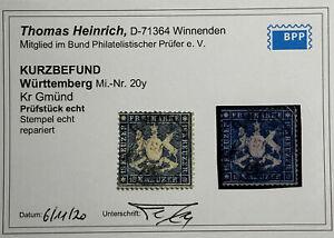 Württemberg mi-N. 20y-TIMBRATO corrente foto risultati Heinrich BBP 2800 €!