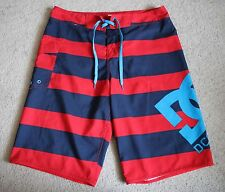 DC Shoes Mens Red Blue Striped Boardshorts Swim Shorts 32""
