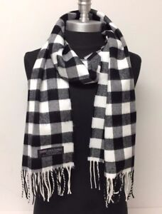 100/% Cashmere Winter Scarf Scarve Scotland Warm Checks Plaid Red Black Gray NEW