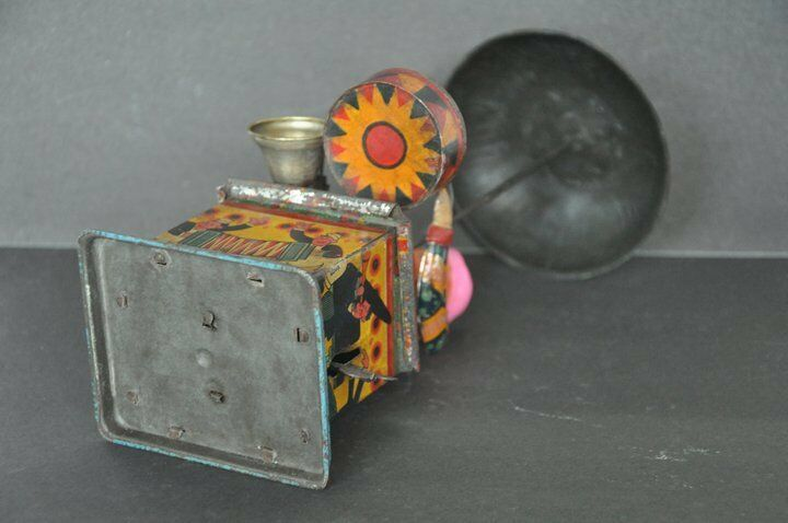 Vintage Wind Up Litho Boy Playing Drum Drum Drum & Bell Litho Tin Toy , Japan 417609