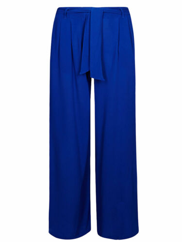 Ex M*S Pleated Wide Leg Palazzo Trouser in Blue Size 8-24 X3.2