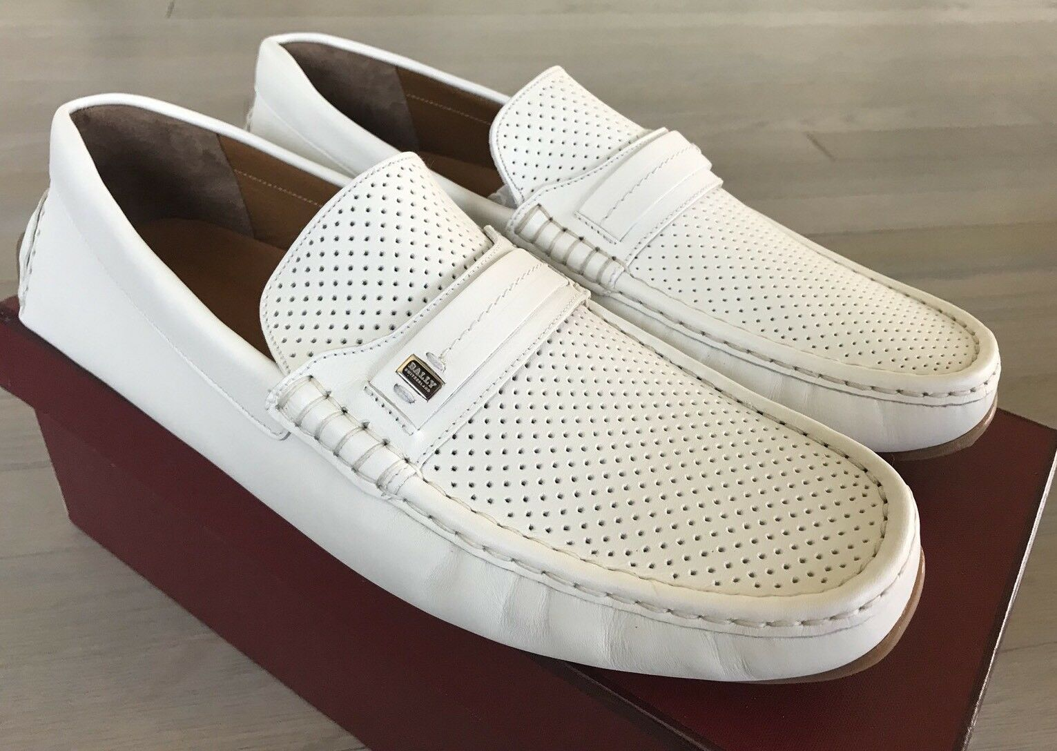 600  Bally Pryce White Perforated Pelle Driver Size US 10.5 Made in Italy