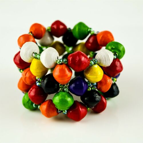 Africa Multi-Color Hand Rolled Recycled Paper Bead Elastic Bracelet 366-124