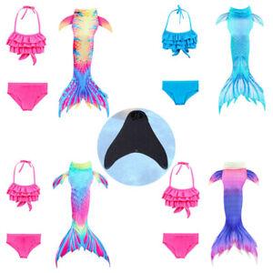 Neu Swimmable Kids Kostüm Meerjungfrau-Schwanz zum Schwimmen mit Monoflosse DE