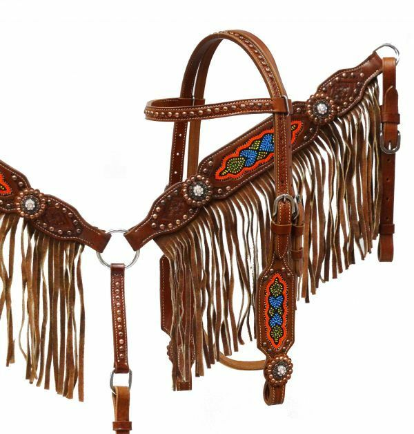 Showman MultiColoree BEADED Bridle TAN Suede FRINGE Breast Collar & Reins SET