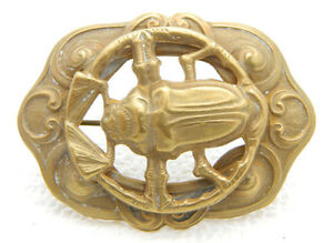 Art-Nouveau-Gold-Tone-Egyptian-Revival-Scarab-Repousse-Openwork-Pin-Brooch
