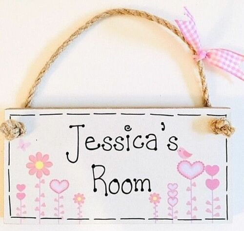 PERSONALISED ANY NAME GIFT new baby girl Room door birth sign plaque keepsake