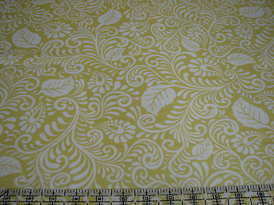 2.5  Yards Cotton Fabric - Quilting Treasures Moonflower Leaves White on Yellow