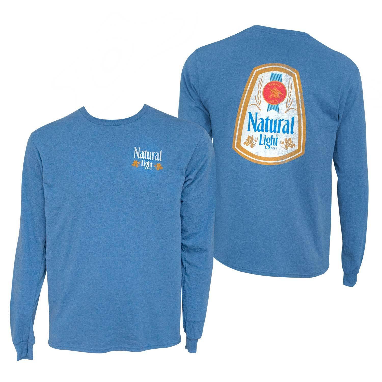 Natural Light Long Sleeve Double Sided Print Tee Shirt bluee