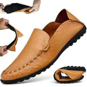 Mens-Genuine-Leather-Casual-Slip-On-Half-Slippers-Loafers-Driving-Moccasin-Shoes