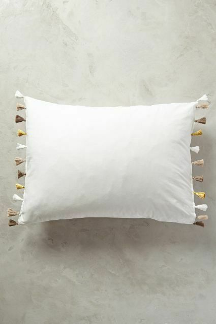 LAST PAIR Anthropologie Lindi Fringe Two Standard Shams Gold NWT actual pic