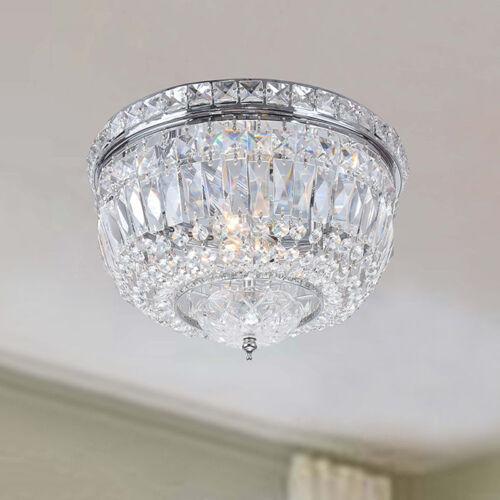 Crystal Light Flush Mount Chandelier Chrome Fixture Close to Ceiling Lighting