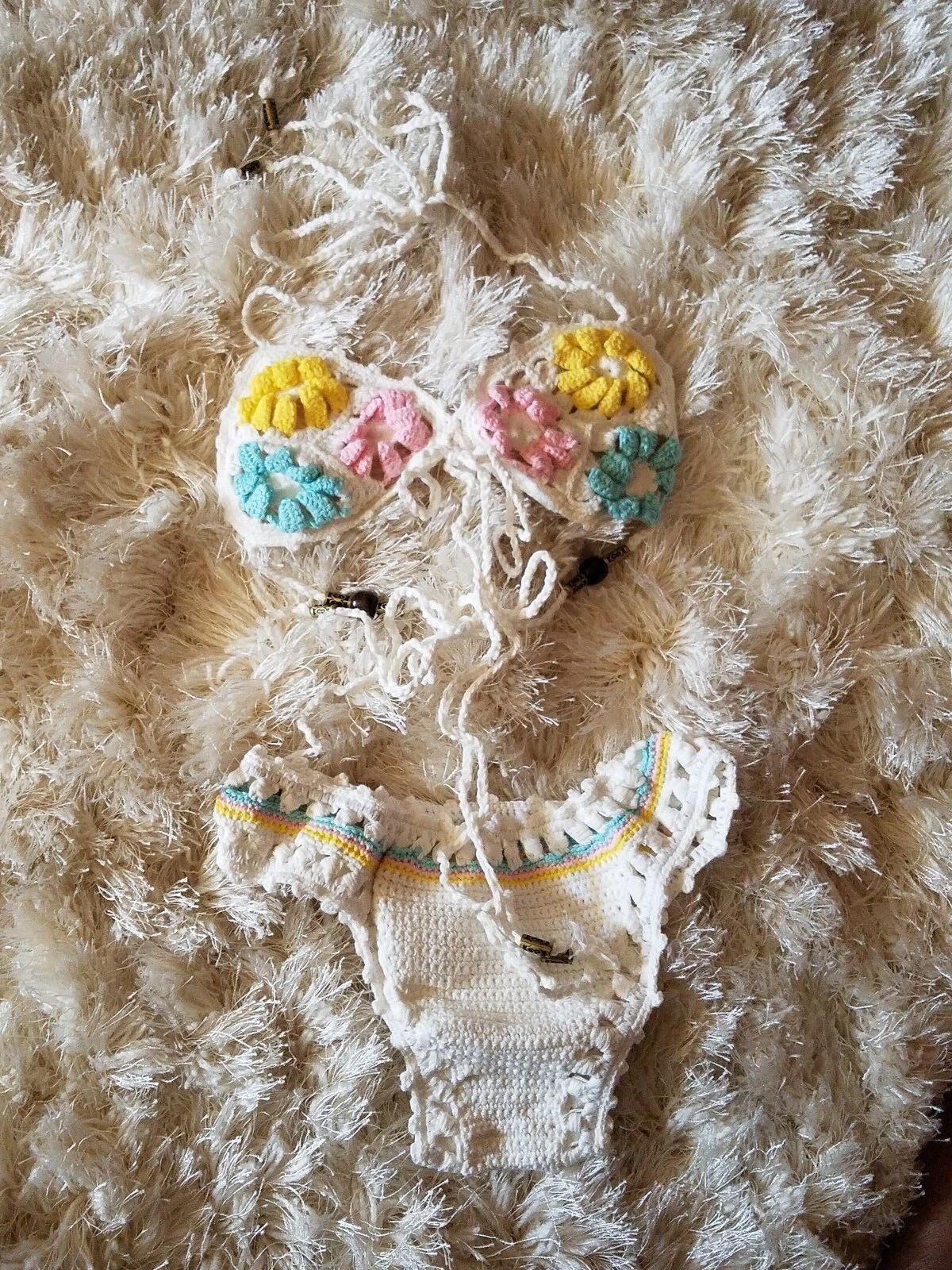 Handmade sexy white crochet swimwear