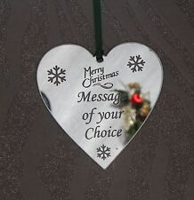 Personalised Silver Mirror Heart  Christmas Tree Decoration Gift