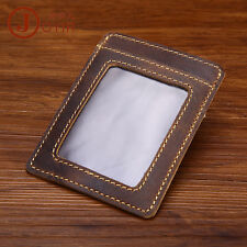 Ultra-thin Men Leather Slim Front Pocket Money Clip ID Window Card Cash Holder