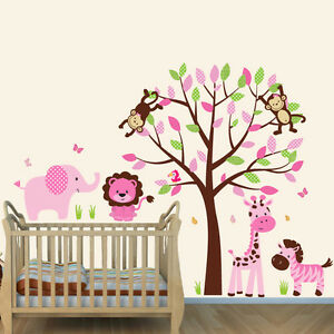 Details about Animal with Tree Wall Decal, Girls Room Decor, Girl Nursery,  Jungle Theme Decal