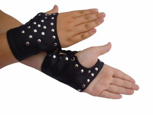 Handschuhe schwarz Arm Stulpen Hand Corsage Ledapol 102 finger frei Nieten Band