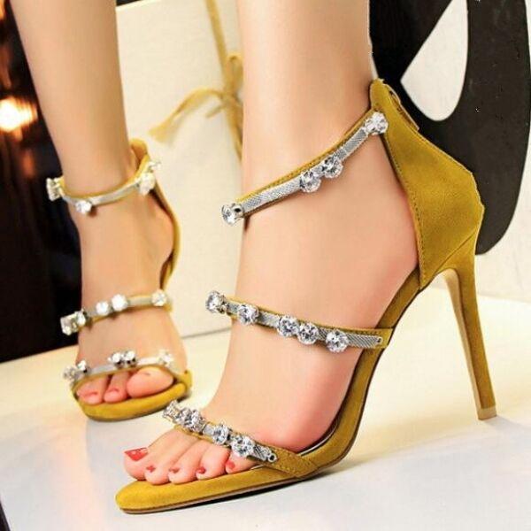 FrauenSandaleeen 9.5 cm elegant Stilett Schmuckstück gelb Event simil Leder CW598