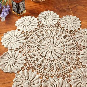 Vintage-Lace-Doily-Hand-Crochet-Cotton-Table-Cloth-Cover-Floral-Pattern-85-90cm