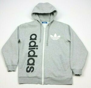alcanzar Duplicación Ligeramente  Adidas Originals Gris Trébol Big Logo Full Zip chaqueta con capucha  explicar medio | eBay