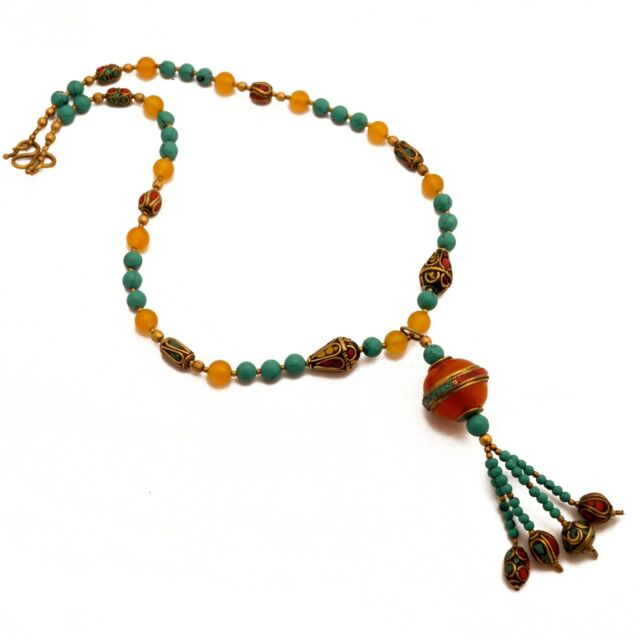 Turquoise Coral Yellow Howlite Brass Necklace 22