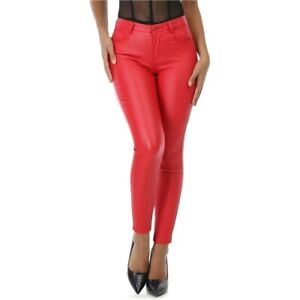 Molly-Bracken-Pantalon-Slim-Simili-rouge-a-30
