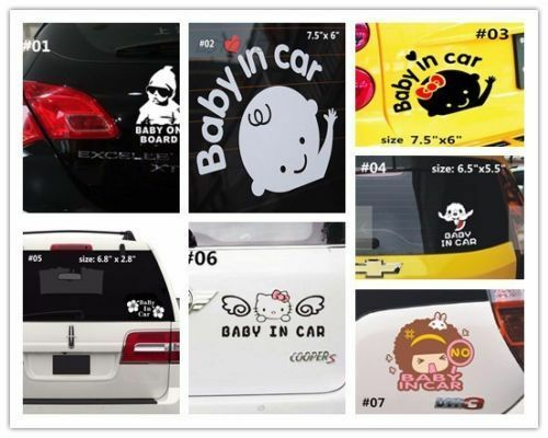 """Baby on Board /""""Baby In Car/"""" Safety Sign Car Decal Sticker hello kitty flower"""