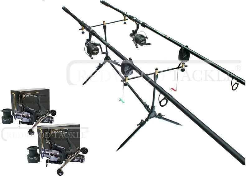 OAKWOOD Carp Fishing Set 2 x Rods, 2 x Double Handle Reels, Pod, 2 x Alarms