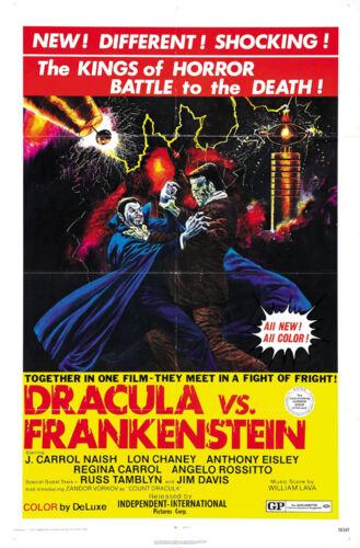 Cult Horror movie poster print 2 Dracula vs Frankenstein 1970