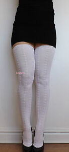 0f1a09dff Extra Long Thigh High Over The Knee Socks OTK White Cable Knit Boot ...