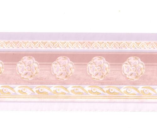Pastel Pink Lavender Rose Flower Floral Rope Moulding Molding Wall paper Border