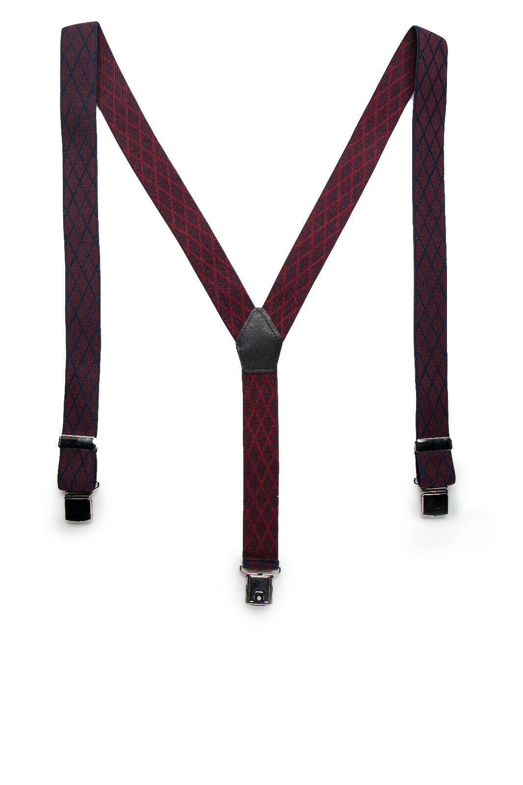 Clip Elegant Vegan Brace on Casual Plaid Flannel Bordeaux Elastic & Adjustable