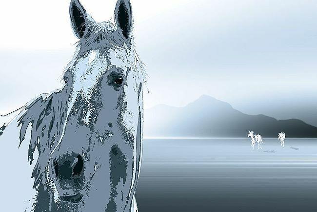 Marvin Pelkey  The Watchman Keilrahmen-Bild Leinwand Pferde Kopf See Landschaft