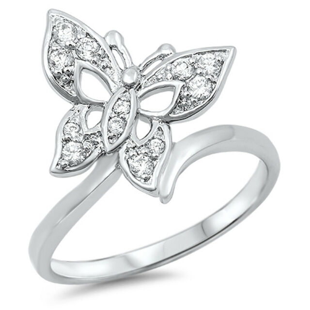 BEAUTIFUL CUTE! Russian CZ Butterfly .925 Sterling Silver Ring Sizes 5-9