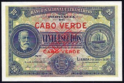 Novel Designs Cape Verde 20 Escudos 20$00 1921 P-36 Specimen Unc Famous For Selected Materials Delightful Colors And Exquisite Workmanship