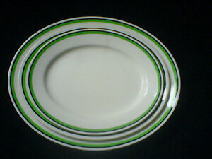 WEDGWOOD-amp-CO-LTD-Set-3-Oval-Plates-Ivory-with-green-black-band-14-12-10-inch