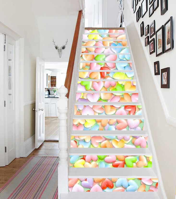 3D Farbe Liebe 251 Stair Risers Dekoration Fototapete Vinyl Aufkleber Tapete DE