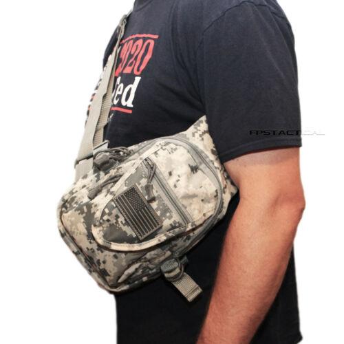 East West USA ACU Digital Camo Tactical Military Sling Backpack w Removable Flag