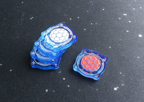 X-Wing 2.0 compatible, acrylic shield tokens - translucent series