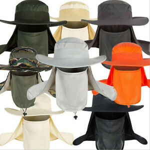 Unisex Men's Brim Anti-UV Fishing Sun Hat Outdoor Travel Quick Anti-mosquito Cap