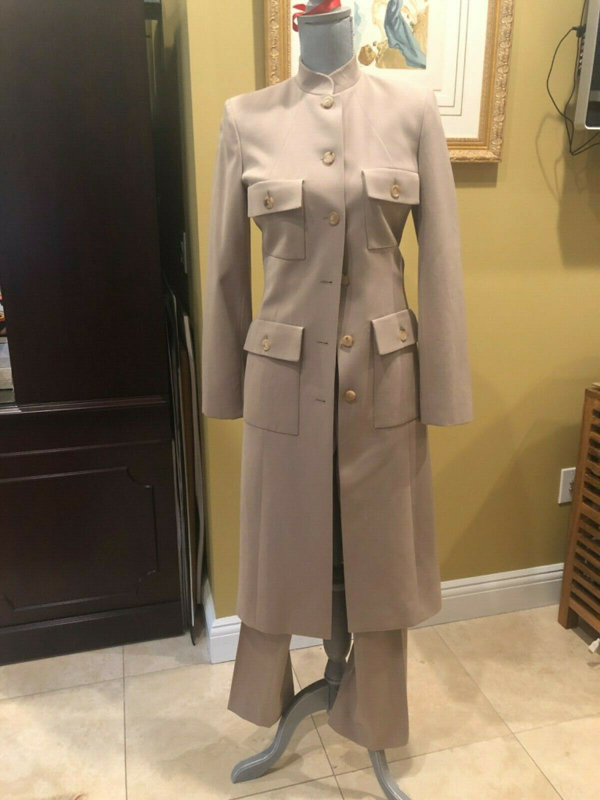 Celine Made in France Taupe 3 pc Suit Skirt Skirt Skirt and Pants sz 36 262