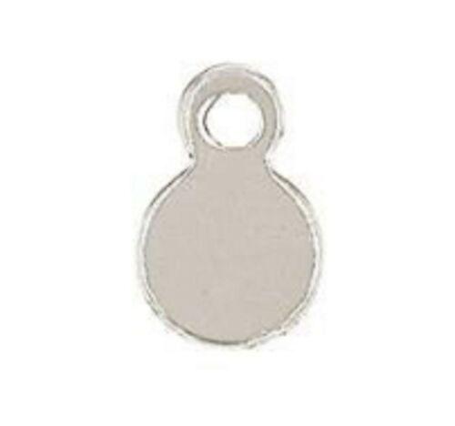 Tiny 14K White Gold Disc Charm Pandent 4.2 mm