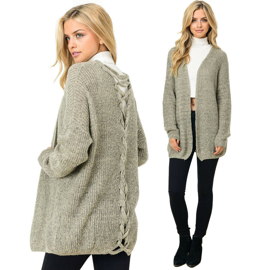Gilli Taupe Crisscross Open Cardigan Sweater - S M, M L