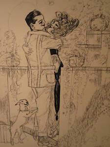 Antique 1914 Nouveau Deco Gibson Fille Chien Fin Illustrator Art Love Tlc Bff