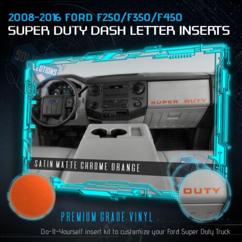 Matte Chrome 08-16 F250 F350 F450 Super Duty Letters Decal Dashboard Glovebox