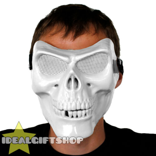 WHITE HALLOWEEN SKULL MASK FANCY DRESS MENS ADULTS HORROR SKELETON ACCESSORY