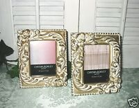 2 Cynthia Rowley Picture Frames Gold Rose & Scroll 2-1/2 X 3-1/2 Photo -