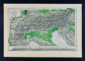 Map Of The Alps In France.C 1885 Hartleben Map Alps Switzerland France Italy Austria